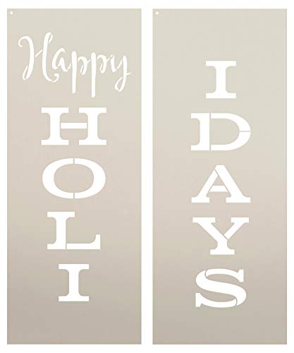 (Happy Holidays Stencil by StudioR12 | Tall Vertical 2 Part | Reusable Mylar Template | Paint Wood Sign | Craft Simple Merry Christmas Home Decor - Porch - Fireplace | DIY Winter Welcome Seasonal Gift)