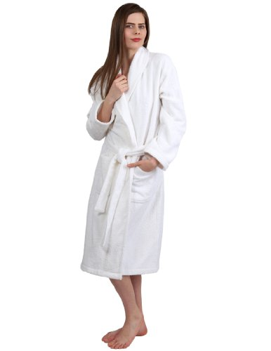 TowelSelections Turkish Terry Bathrobe - 100% Turkish Cotton, Terry Cloth Robe for Women and Men, Made in Turkey (White, S/M)