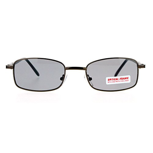 SA106 Vintage Narrow Rectangular 49MM Metal Rim Classic Sunglasses Brown - Sunglasses Rim Metal