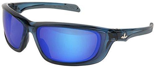 U.S. Safety UD128BZ Protective Eyewear (1 Pair) USS Defense Military Ballistic Style, Boss Man Diamond Mirror Lens, Translucent Dark Blue Frame Diamond Eyewear Sunglasses