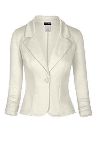 Women's Classic Casual Work Solid Color Knit Blazer (Ivory, X-Large)