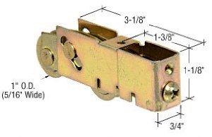 CRL 1'' Tandem Steel Ball Bearing Sliding Glass Door Roller With 3/4'' Wide Housing - D1982