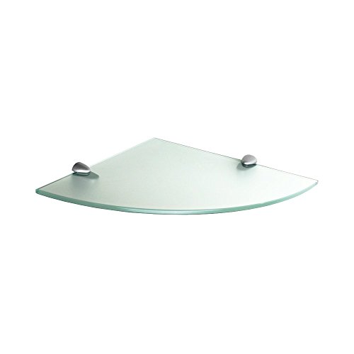 "Fab Glass and Mirror 799456351605-FR Floating Shelf (Corner) 6x6 Inch W/Chrome Brackets-Frosted Glass Shelves, 6"" X 6"","