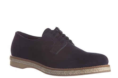 Prada chaussures à lacets classiques homme en daim derby blu