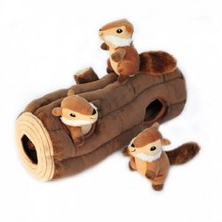 ZippyPaws-X-Large-Burrow-Log-and-Chipmunks-Squeaky-Hide-and-Seek-Plush-Dog-Toy