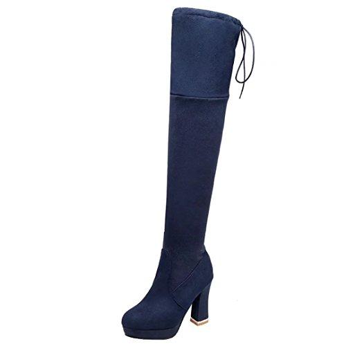 Aiyoumei Womens Ronde Neus Zijrits Blok Hiel Herfst Winter Over De Knie Laarzen Stretch Lange Laarzen Blauw