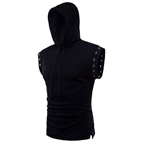 Gothic Clothing,Blouse MILIMIEYIK Men's Workout Hooded Tank Tops Bodybuilding Muscle Cut Off T Shirt Sleeveless Gym Hoodies Black -