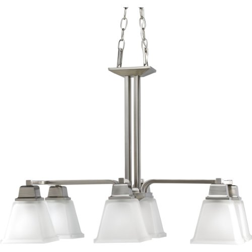 (Progress Lighting P4003-09 6-Light North Park Chandelier, Brushed Nickel)