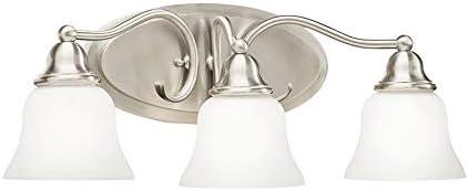 Amazon Com Kichler Lighting 3 Light Satin Nickel Integrated Led Bathroom Vanity Light Electronics