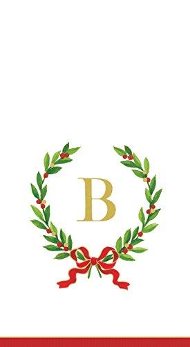 Entertaining with Caspari Christmas Laurel Wreath Paper Guest Towels, Monogram Initial B, Pack of 15