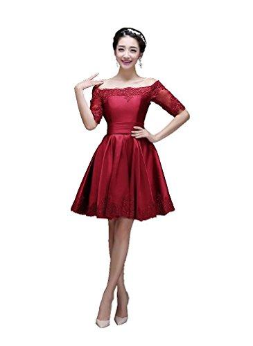 Beauty-Emily La mitad de la manga del vestido de partido del cuello del barco mini-Line Vino rojo