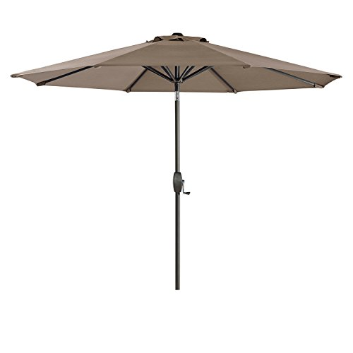 Ulax furniture 9 Ft Outdoor Umbrella Patio Market Umbrella Aluminum with Push Button Tilt&Crank, Sunbrella Fabric (Taupe)