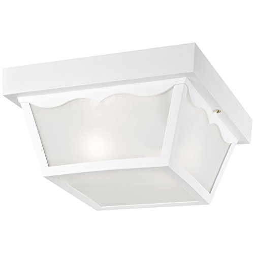 Two Light Outdoor Flush - Westinghouse 6697600 2-Light White Porch Fixture with Clear Glass Panels