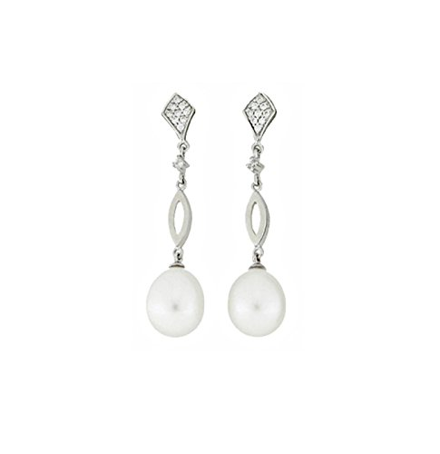 Boucles d'oreilles en or blanc 18 ct avec diamants 0,142 ct et perles de culture
