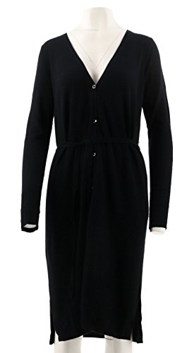 - H by Halston Halston Silk-Cashmere Blend V-Neck Long Cardigan Drawstring Black M # A280010