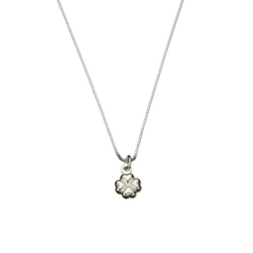 Sterling Silver Tiny Shamrock Charm Box Chain Nickel Free Necklace Italy, (Sterling Silver Puffed Box)
