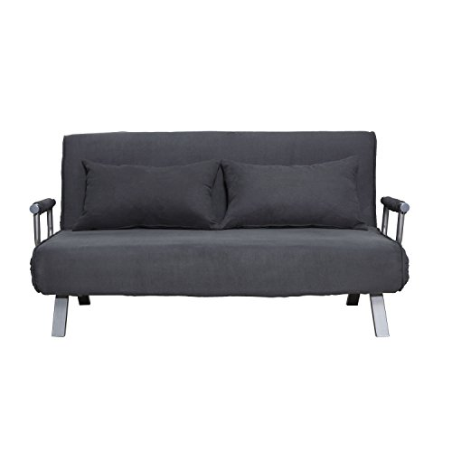(ANA Store Modern Tuck Recliner Gray Suede Upholstered Modifiable Chaise Longue Queen Size Settee 5 Level Adjustment Back with 2 Headrest Detachable Cover Sofa for Cleaning)