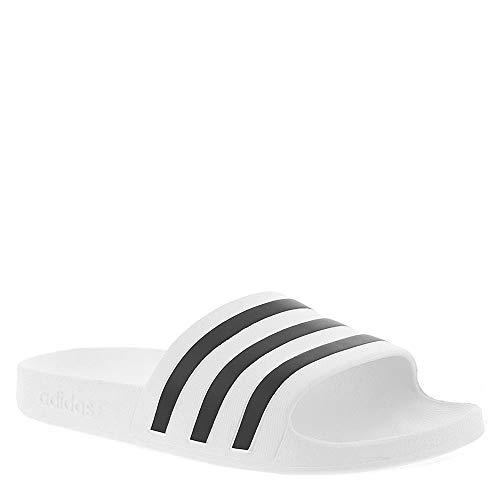 adidas Women's Adilette Aqua Sandal, White/Black/White, 6 M US