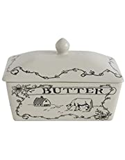 Creative Co-op DA8364 Country Style Butter Dish, White and Black