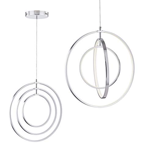 "Modern LED Chandeliers for Dining Rooms, Bedrooms, Living Room, Kitchen, Entryway Orb 3 Rings Contemporary Pendant Lighting Ceiling Light Fixtures with Adjustable Cord Farmhouse Rustic Hanging Lamp - Unique DIY Style: Modern LED chandeliers ceiling light pendant lighting with 3 Rings, Simple elegant to fit the home design of classic, luxury, transitional, rustic, farmhouse, industrial,low/high ceiling, slanted sloped ceiling etc, definitely wowed interior decoration. Perfect for dining room, living room, bedrooms, girls room, kids room ,hallway, porch, hotel, staircase, foyer, hallway, office. Product Dimensions: 3 circle rings diameter(17.9""-14""-10""), Adjustable Cord: the 4.92-foot hanging cord allows you to place this hanging light fixture wherever you need it most. Maximum Hanging Length: adjustable from 1"" To 59"" 20,000 Hour Life & Energy Saving :Light Color: Cool White (3000K), Not Dimmable; Build-in LED light source 37.5W, Light Source: LED chips. LED outlasts energy wasting standard halogen, CFL or incandescent bulbs, and it creates no heat. This chrome LED chandelier is rated to last for 20 years without burning out, so that you will never have to replace the light. - kitchen-dining-room-decor, kitchen-dining-room, chandeliers-lighting - 31m6REerZ L -"