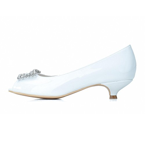 Mujer Sparkle L amp; 0700 De Wedding Boda yc top Custom Pu White Zapatos Night Para 05 Espejo wAA1qTX