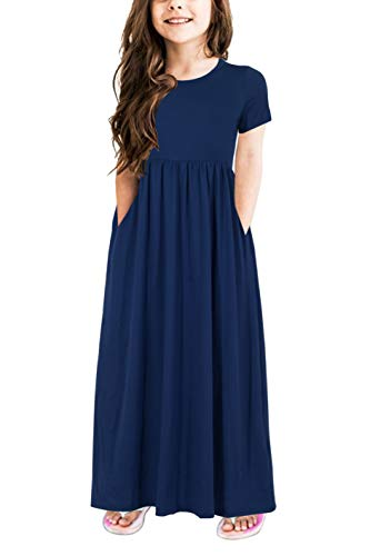 Gorlya Girl's Short Sleeve Floral Print Loose Casual Holiday Long Maxi Dress with Pockets 4-12 Years (11-12Years/Height:150cm, Navy Color)