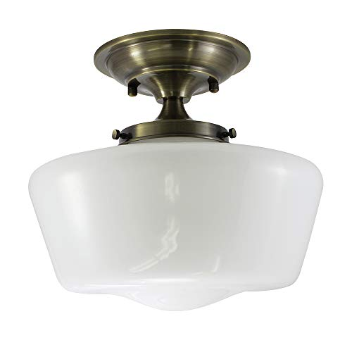 (URBAN 33 F21616-30 Semi-Flush Opal Glass Schoolhouse Fixture, Antique Brass Finish)