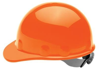 Fibre-Metal Orange Thermoplastic Cap Style Hard Hat - 8-Point Suspension - Pin Lock Adjustment - FIBRE-METAL E2QSW03A000 [PRICE is per EACH]