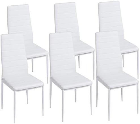 IDMarket Lot de 6 chaises Romane Blanches pour Salle à Manger