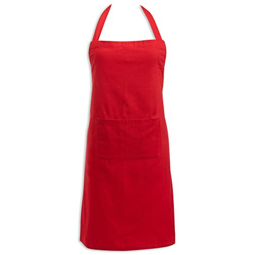 Red Barbecue Apron - DII Cotton Adjustable Kitchen Chef Apron with Pocket and Extra Long Ties, 32 x 28, Commercial Men & Women Bib Apron for Cooking, Baking, Crafting, Gardening, BBQ-Red