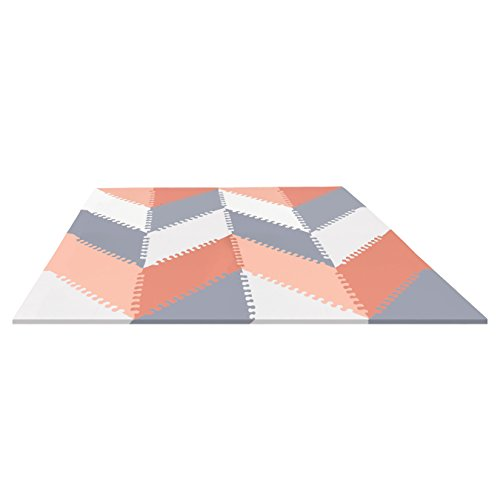 Discover Bargain Skip Hop Geo Grey-Peach Playpost Foam Floor Chevorn Tile Playmat, Pink