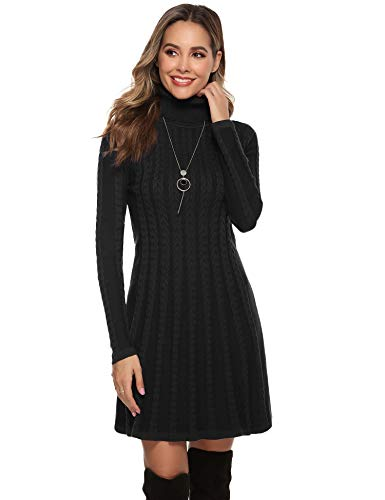 Hawiton Women's Jumper Dress Cable Twist Long Sleeve A-line Knitted Dress Sweater Dress Long Pullover for Winter