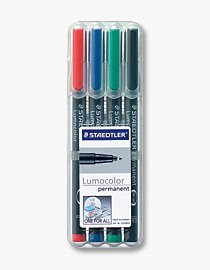 Lumocolor - Fiber Tip Marker Permanent, Superfine, 4/ST, Assorted, Sold as 1 Set, STD 313WP4A6
