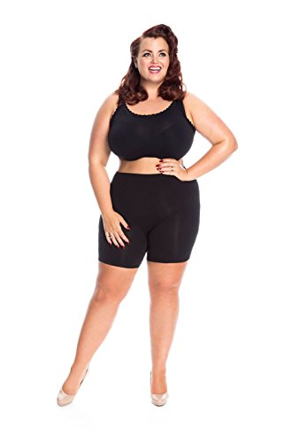 All Woman Plus Size Anti-chafing Short Leg Panties NO RIDING UP (Black US26/32) SINGLE PAIR