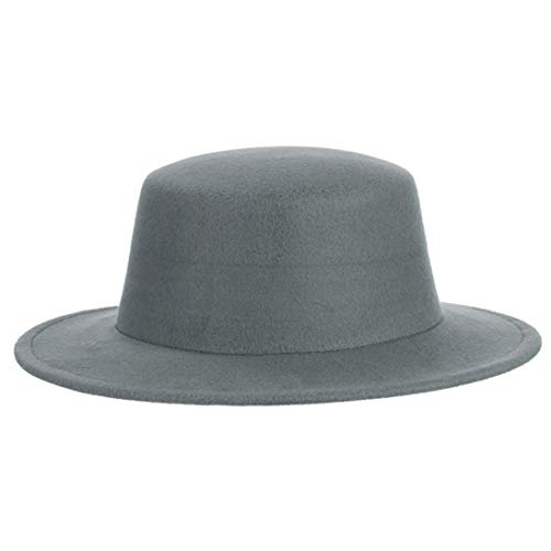 Light Pecan Pie - Wool Felt Fedora Hats for Men and Women Unisex Classic Flat Wide Brim Trilby Cap Pork Pie Jazz Hat Light Gray