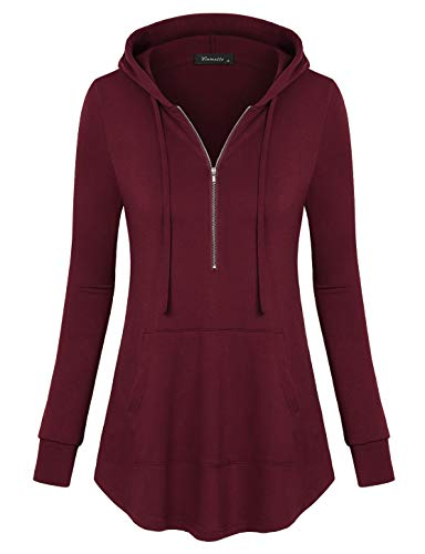 - Vinmatto Women's Zip V Neck Long Sleeve Pullover Casual Thin Hoodies Shirt with Pocket(L,Wine Red)