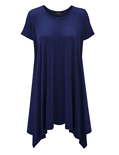 WT1110 Womens Short Sleeve Side Panel Loose Fit Tunic Top M NAVY
