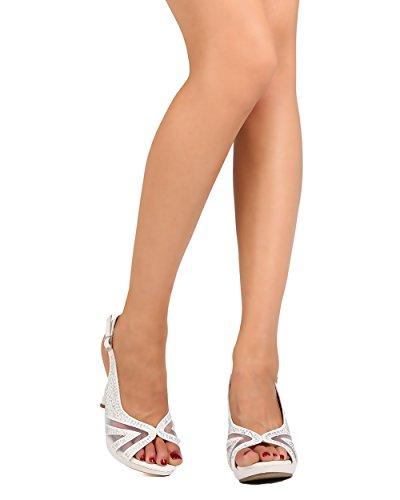 Cathy Din Fc09 Dames Glitter Kunstleer Peep Toe Mesh Strass Slingback Stiletto Sandaal - Wit