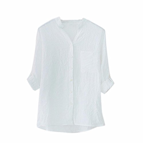 FORUU Valentine's Day Gift 2018 Warehouse Sale Discount Product hot Sale Women Cotton Solid Long Sleeve Shirt Casual Loose Blouse Button Down Tops (M, (Discount Warehouse)
