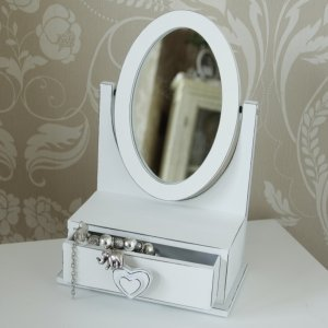White Table Top Wooden Mirror With Drawer