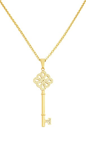 Edforce Stainless Steel Women's 14k Gold Necklace with Key Pendant with CZ | Rolo Chain 29 inches