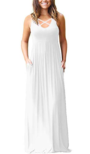 LILBETTER Women's Sleeveless Racerback Loose Plain Maxi Maternity Dresses Casual Long Dresses with Pockets (Sleeveless White,XS)