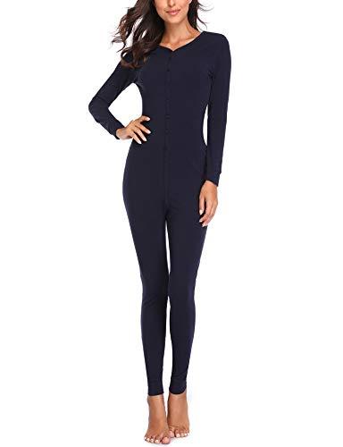 Lusofie Womens Cotton Thermals Adult Onesie Henley Thermal Underwear Union Suit