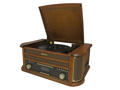 Roadstar HIF-1993D+BT retro muzieksysteem met DAB-radio en platenspeler (DAB+, CD/MP3-speler, cassette, Bluetooth, USB…