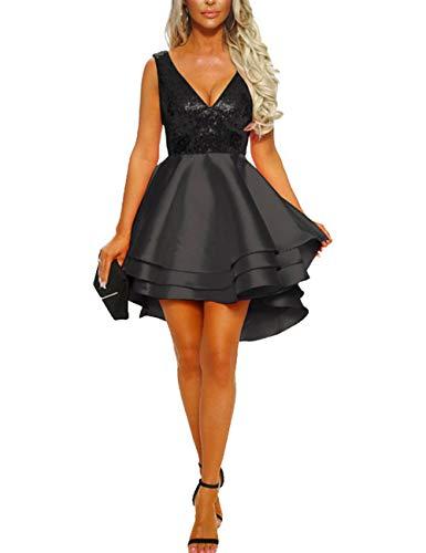 Rela Bota Women Sleeveless Sequin High Low Prom Evening Cocktail Party Skater Dress Black S