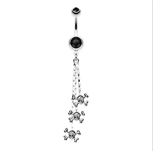 316L Surgical Steel Skull & Crossbones Dangle Freedom Fashion Belly Button Ring (Sold by Piece) (14GA, 3/8