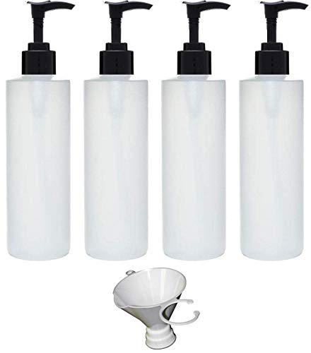 Earth's Essentials Four Pack of Refillable 8 Oz. HDPE Plastic Pump Bottles with Patented Screw On Funnel-Great for Dispensing Lotions, Shampoos and Massage Oils