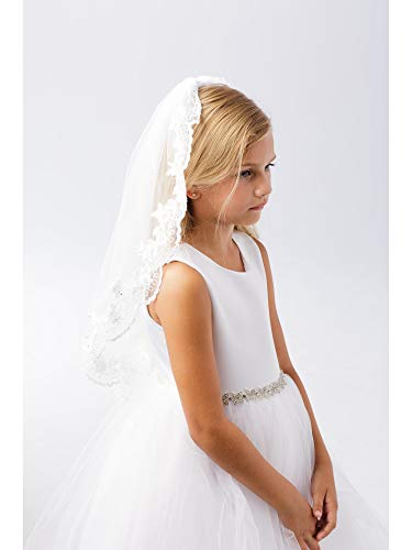 (Girls White Wide Floral Lace Edge Single Layer Communion Flower Girl Veil)