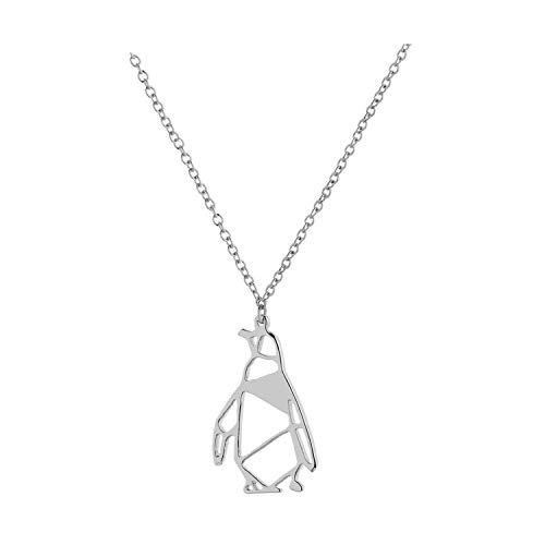Penguin Charm Pendant - Frodete Hollow Penguin Necklace Dainty Jewelry Animal Penguin Charm Pendant Necklace for Penguin Lover (Silver)