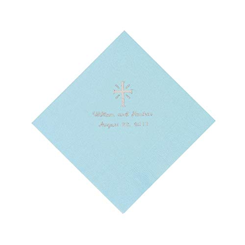 Light Blue Cross Personalized Napkins with Silver Foil - Luncheon by Fun Express